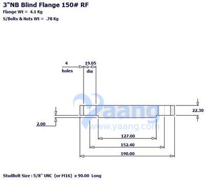 20180407111317 67950 - ANSI B16.5 304L Blind Flange RF 3 Inch 150#