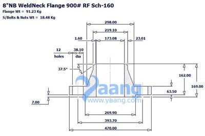 20191261830547496875 - ASME B16.5 A182 F316L WNRF Flange DN200 SCH160 Class900